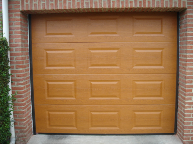 vue d'une porte de garage beige